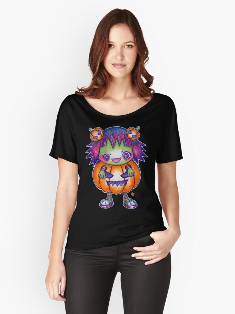 Kawaii Pumpkin Halloween Girl Women's Relaxed Fit T-Shirt Front