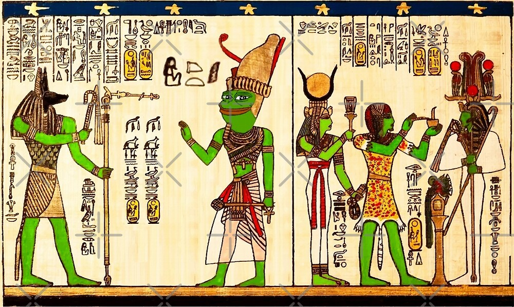 Egyptian Pepe The Frog Praise KEK Goddess Hieroglyphs and KEK Magic Mythology from Egypt Rare PepetheFrog Vintage style by iresist