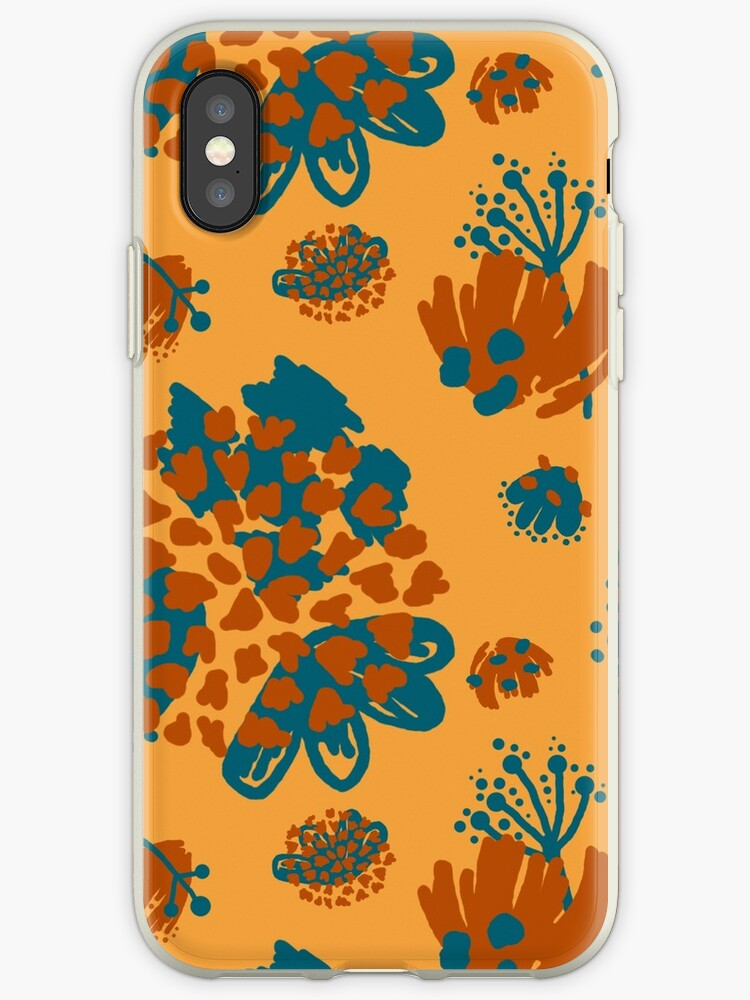 Abstract Flowers and Shapes Pattern on a yellow Background by ApricotBlossom