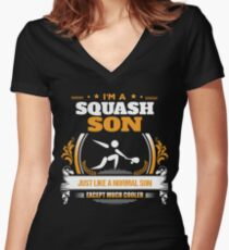 Squash Son Christmas Gift or Birthday Present Women's Fitted V-Neck T-Shirt