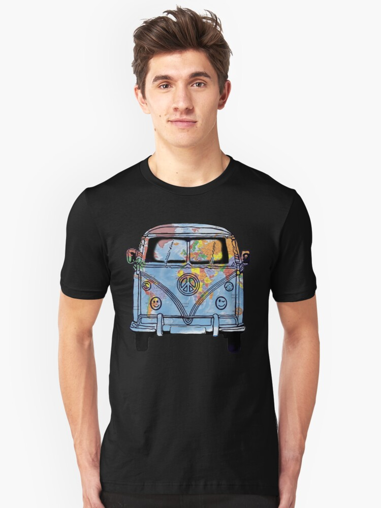 World Traveler Bus Peace Sign Symbol Happy Face Headlights Unisex T-Shirt Front