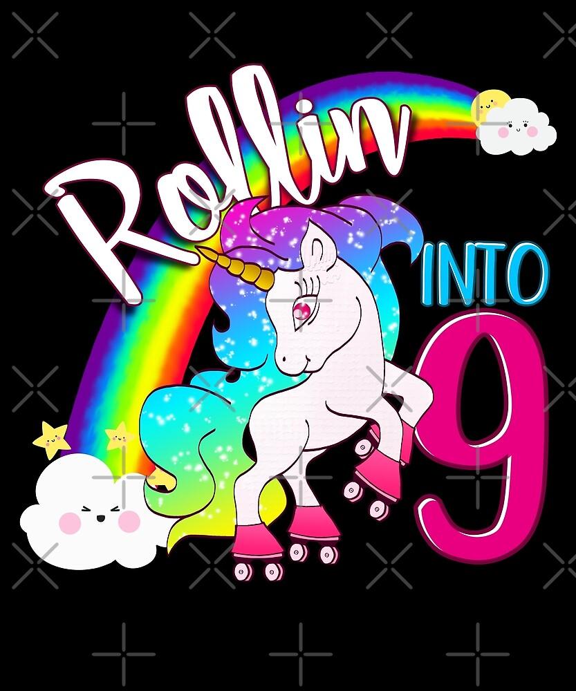 Unicorn 9th Birthday Kids Gift Shirt - Rollin Into 9 Shirt by proeinstein