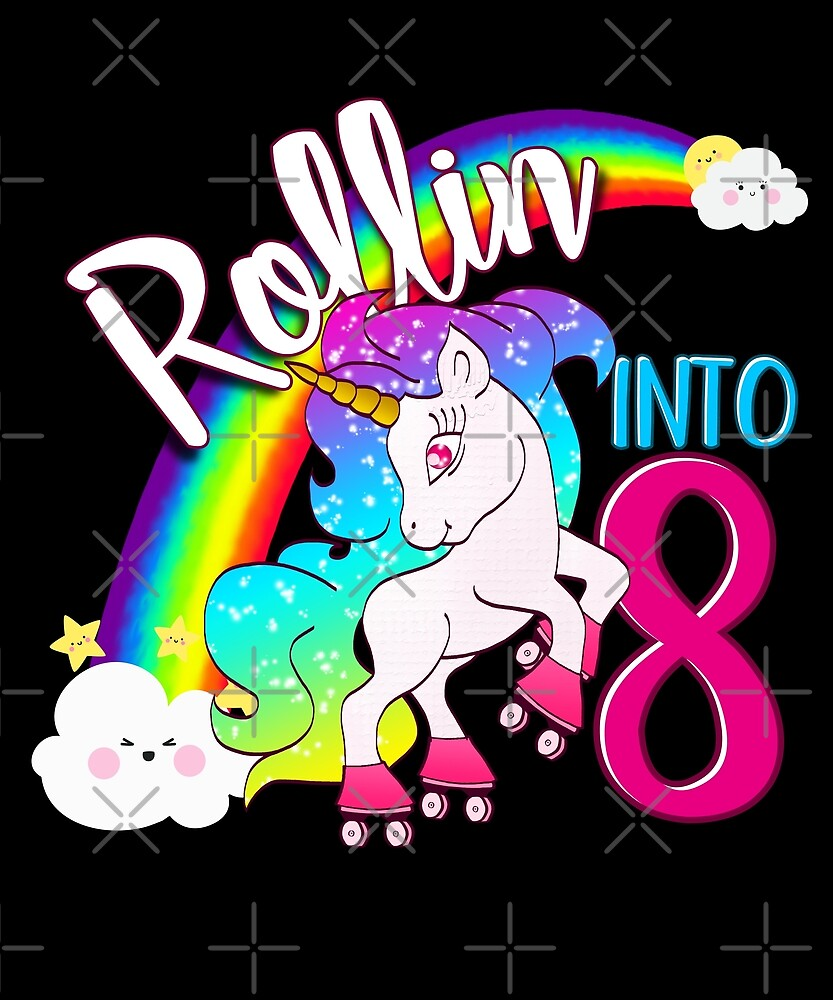 Unicorn 8th Birthday Kids Gift Shirt - Rollin Into 8 Shirt by proeinstein