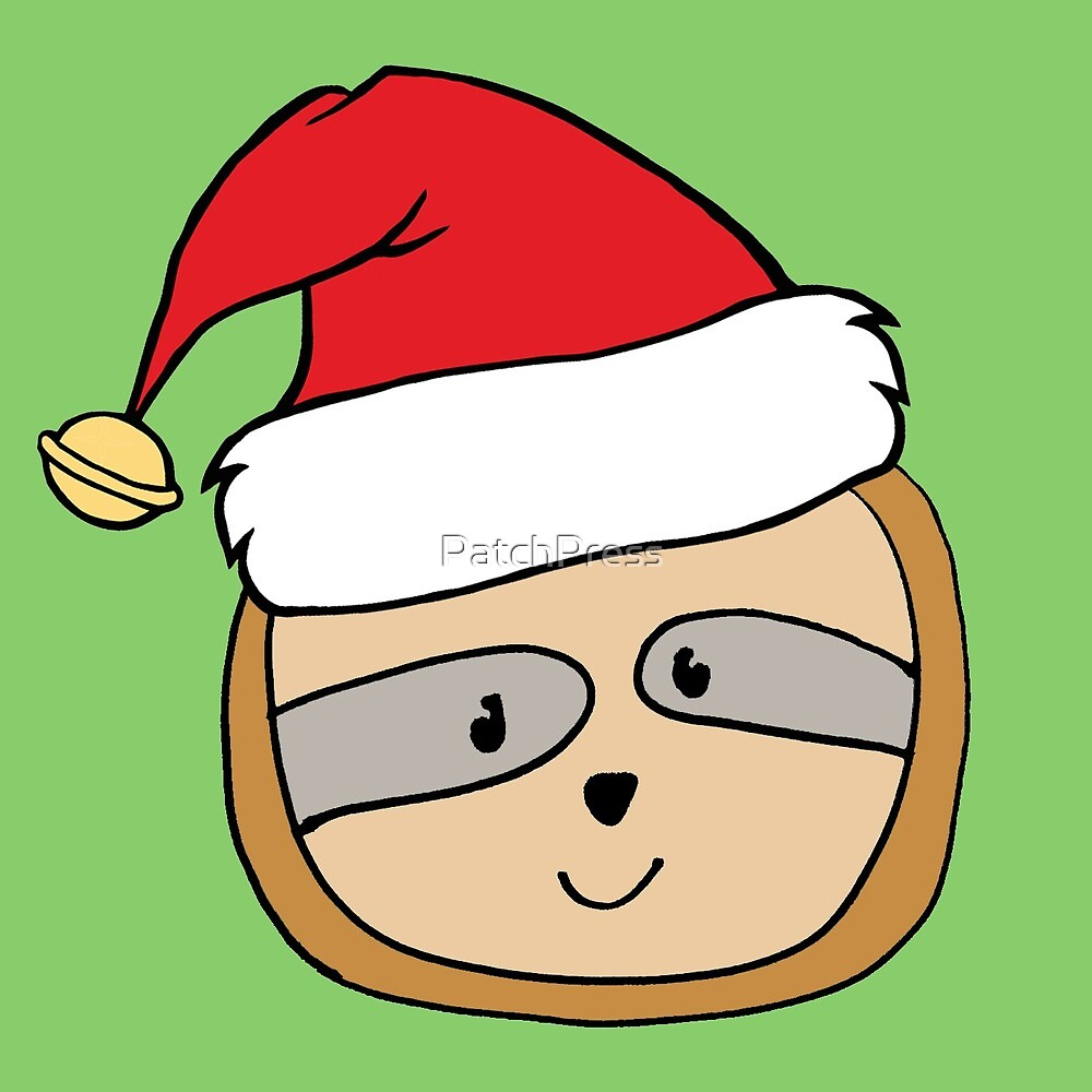 Merry Christmas Lazy Sloth by PatchPress