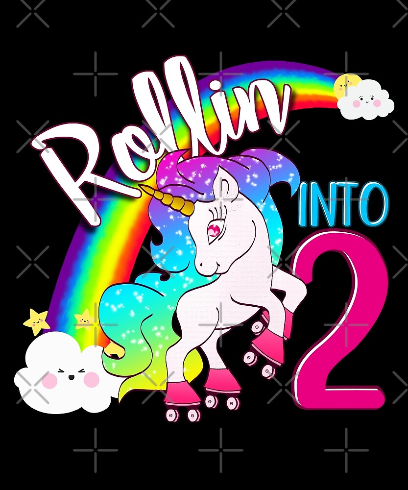 Unicorn 2nd Birthday Kids Gift Shirt - Rollin Into 2 Shirt by proeinstein