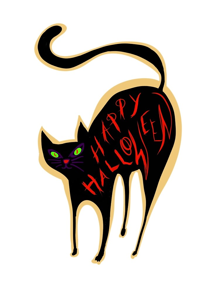 Black cat wishing you a Happy Halloween by Neo-shop