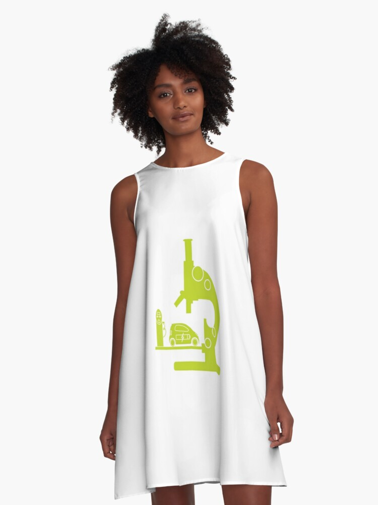 Microscope, electric car, charging station. A-Line Dress Front