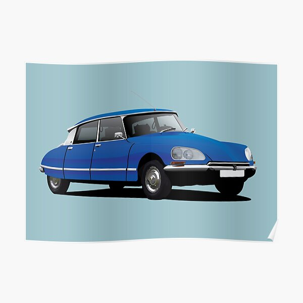 Illustration de Citroen DS, bleu Poster