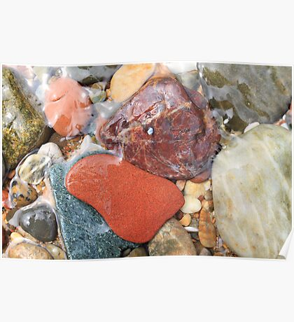 Colorful beach rocks  Poster