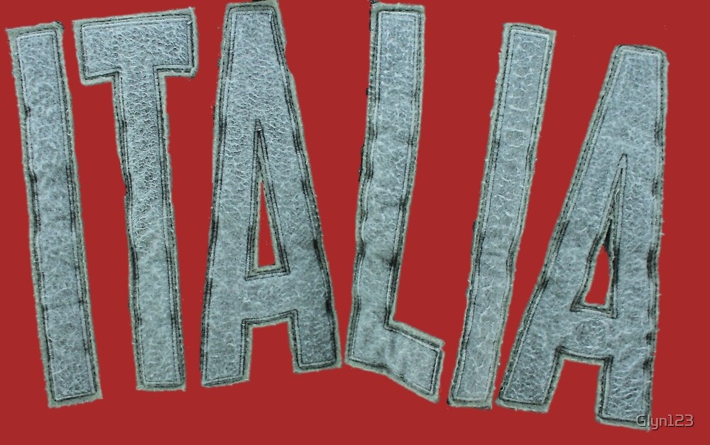 ITALIA distressed grey cut out effect on Red Green or whatever background by Glyn123