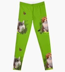 Kittens and a Butterfly. Leggings