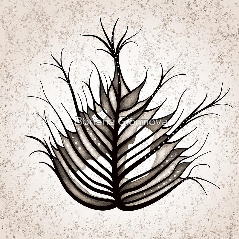 'Hairy Leaf Abstract Art In Sepia' by Boriana Giormova