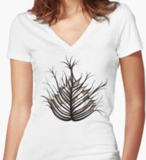 Hairy Leaf Abstract Art In Sepia Women's Fitted V-Neck T-Shirt