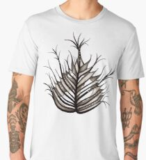 Hairy Leaf Abstract Art In Sepia Men's Premium T-Shirt