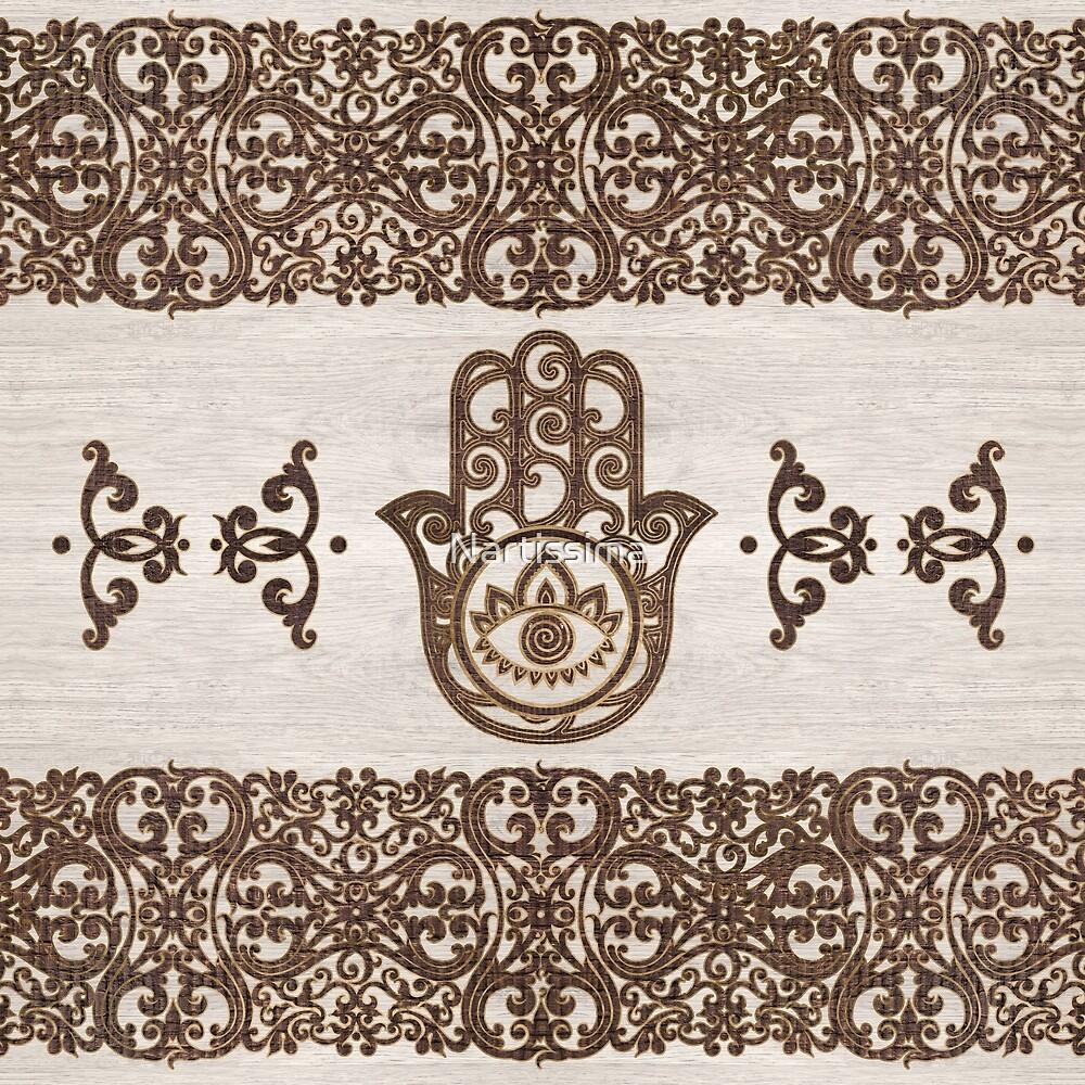 Hamsa Hand - Hand of Fatima  wooden texture by Nartissima