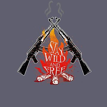 Wild and Free Campfire Army Soldier Military Camping Camper by MDAM