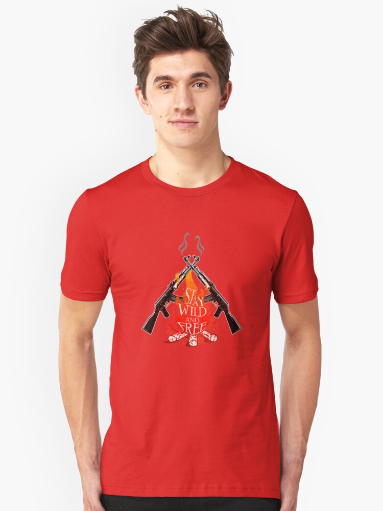 Wild and Free Campfire Army Soldier Military Camping Camper Unisex T-Shirt Front