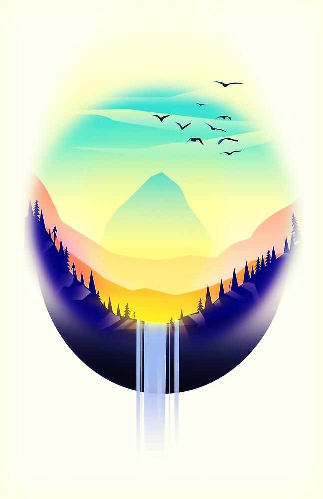 Landscape waterfall orb by vectorwebstore