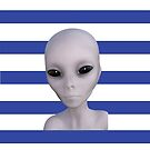 Alien Girl ET Striped Navy and White Stripes The truth is out there Stripey Stripes by ladyluck777