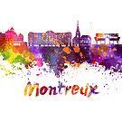 Montreux-Skyline im Aquarell spritzt von paulrommer