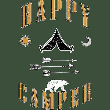 Happy Camper Arrows Camping American Indian Tent and Polar Bear by MDAM