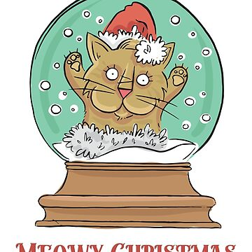 Meowy Christmas Cartoon Cat in a Snow Globe by CafePretzel
