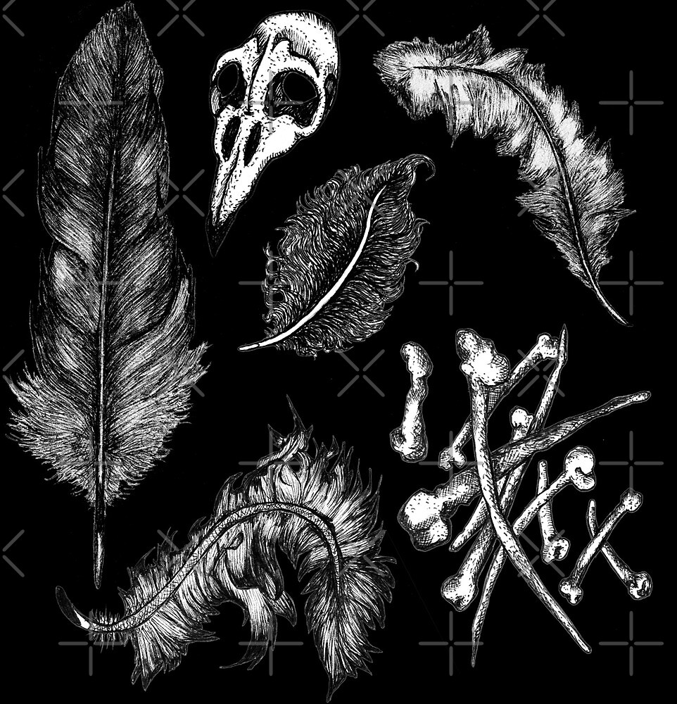 Witches Brew Ingredients - Feathers and Bones by kikoeart
