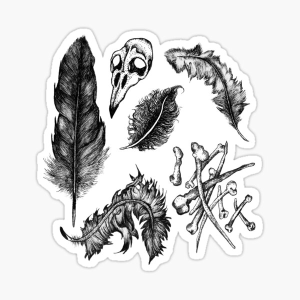 Witches Brew Ingredients - Feathers and Bones Sticker