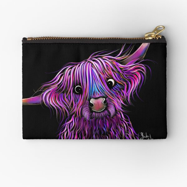 HiGHLaND CoW PRiNT SCoTTiSH ' HuCKLeBeRRY ' BY SHiRLeY MacARTHuR Zipper Pouch