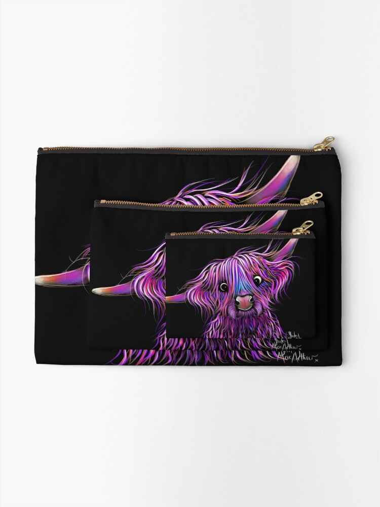 Alternate view of HiGHLaND CoW PRiNT SCoTTiSH ' HuCKLeBeRRY ' BY SHiRLeY MacARTHuR Zipper Pouch