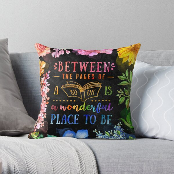 Between the pages (black) Throw Pillow