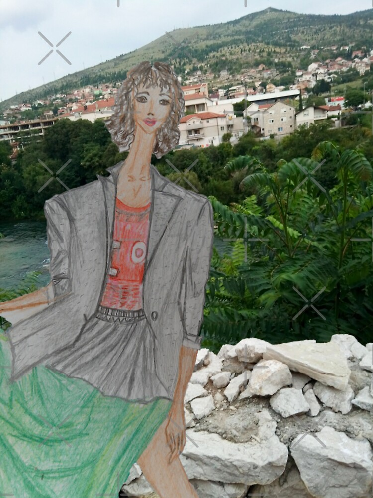 Fashion Illustration Collage: A Girl Wearing a Maxi Skirt by IvanaKada