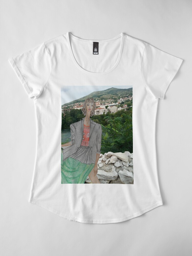 Alternate view of Fashion Illustration Collage: A Girl Wearing a Maxi Skirt Premium Scoop T-Shirt