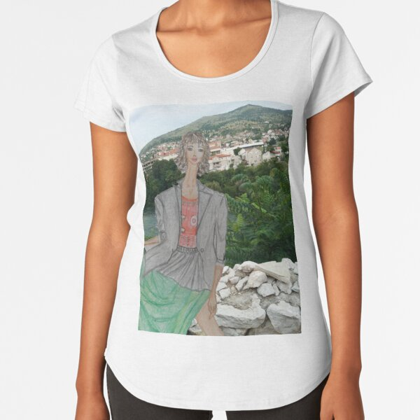 Fashion Illustration Collage: A Girl Wearing a Maxi Skirt Premium Scoop T-Shirt