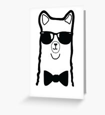 Hipster Alpaca – Face Close Up - Cute Kids Cartoon Character Greeting Card