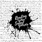 Reading is my Superpower Splatter Typography Quote Art (White) by mydoodlesateme
