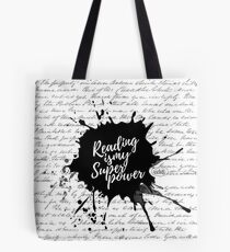 Reading is my Superpower Splatter Typography Quote Art (White) Tote Bag
