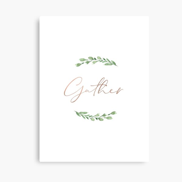 Gather in rose gold with watercolor greenery wreath Canvas Print