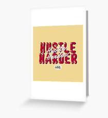 Hustle Harder Typography Lettering Art (Custard Yellow) Greeting Card