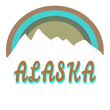 Alaska mountains retro design by jhussar
