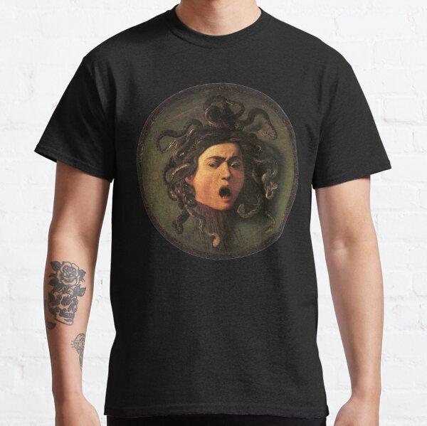 Medusa. Gorgon. Venomous snakes in place of hair. Monster. Greek Mythology. Michelangelo, Caravaggio. on BLACK. Classic T-Shirt