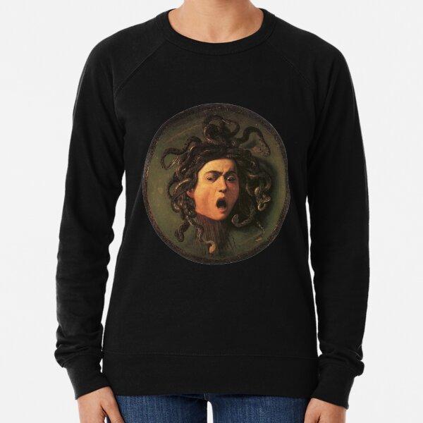 Medusa. Gorgon. Venomous snakes in place of hair. Monster. Greek Mythology. Michelangelo, Caravaggio. on BLACK. Lightweight Sweatshirt
