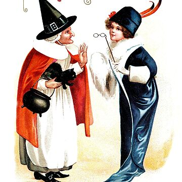 Old and young witch, Halloween vintage greeting by AmorOmniaVincit