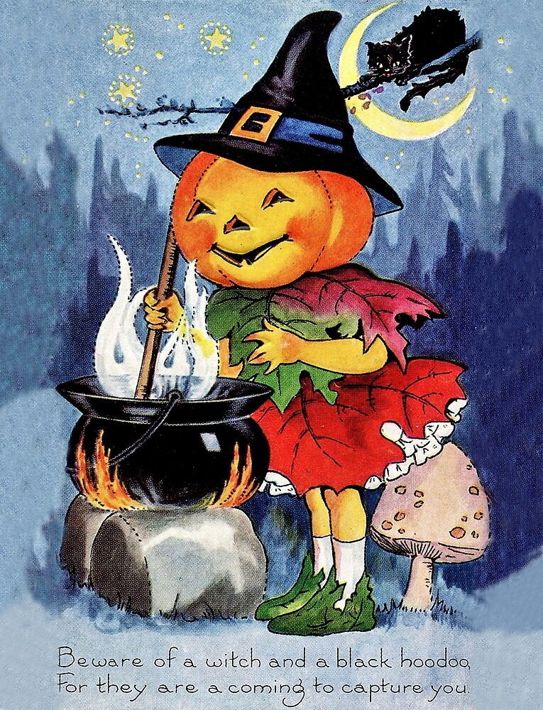 Little pumpkin witch girl cooking, Halloween greeting with a