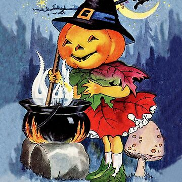 Little pumpkin witch girl cooking, Halloween greeting with a poem by AmorOmniaVincit