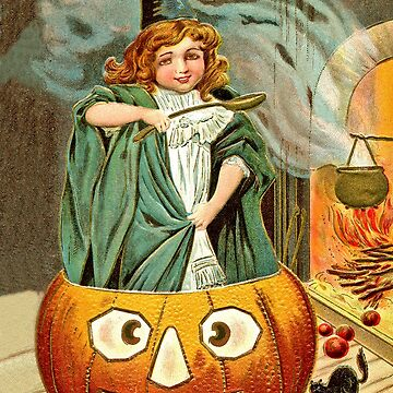Little witch girl cook, vintage Halloween greeting by AmorOmniaVincit