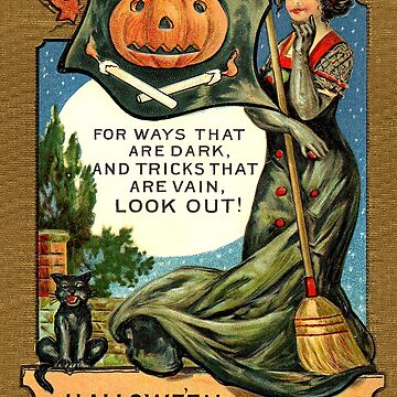 Young witch woman at Halloween time, vintage greeting by AmorOmniaVincit