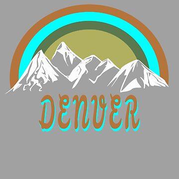 Retro Denver mountains graphic design by jhussar
