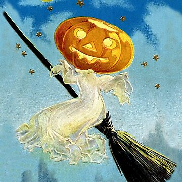 Pumpkin witch flying on a broom, Halloween Greeting by AmorOmniaVincit