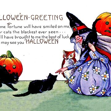 Old witch with her cats and pumpkins, vintage Halloween greeting by AmorOmniaVincit